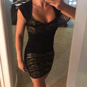 Black and Gold Bodycon Dress
